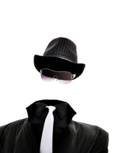 An invisible man isolated on white background